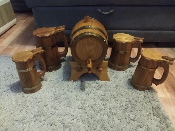 Kufle drewniane dębowe+beczka na stojaku