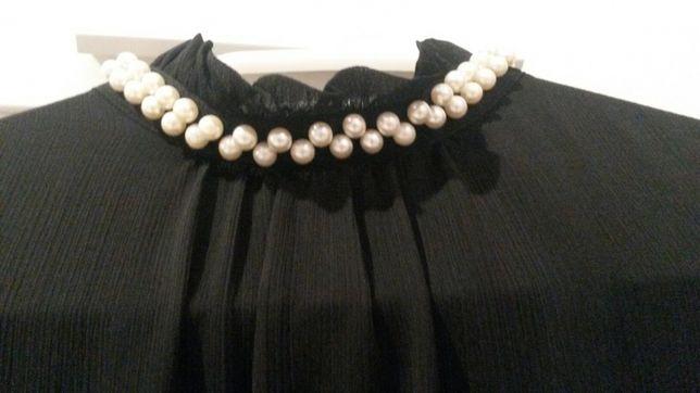 Mohito zwiewna wizytowa sukienka mała czarna -rozcięty rękaw cudna
