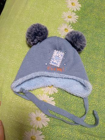Шапочка 44-45 зимняя шапка на мальчика, детская.