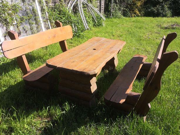 Meble ogrodowe masywne 2 ławki + stół z bali