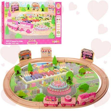 Деревянная игрушкаЖелезная дорога MD 1056 60-60-45 см