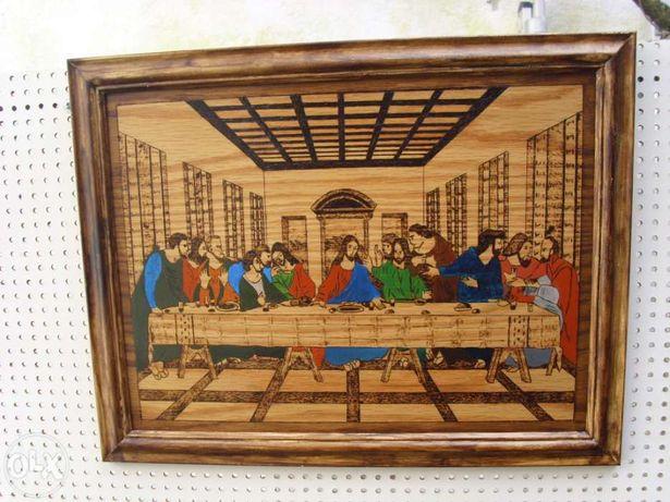 Quadro ceia de Cristo em pirógravura e pintura acrílica