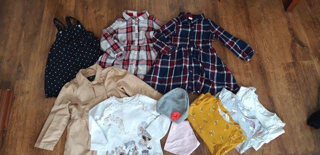 Okazja zestaw ubranek hm dla dziewczynki 98 sukienki
