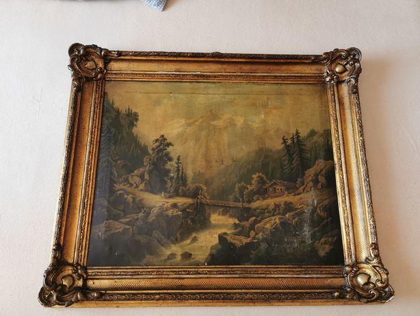 Stary obraz w drewnianej ramie