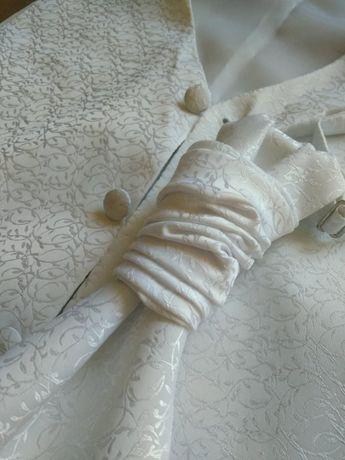 kamizelka i musznik ślubny rozmiar M śnieżnobiały
