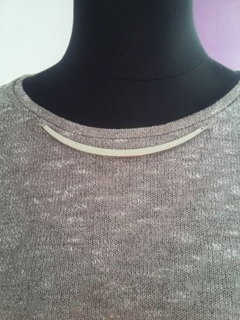 WYPRZEDAŻ bluzka tunika Reserved L ozdobna blaszka brąz beż połysk