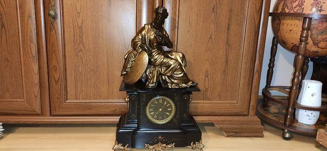 Niespotykany, wielki zegar figuralny kominkowy ,XIXw,Francja