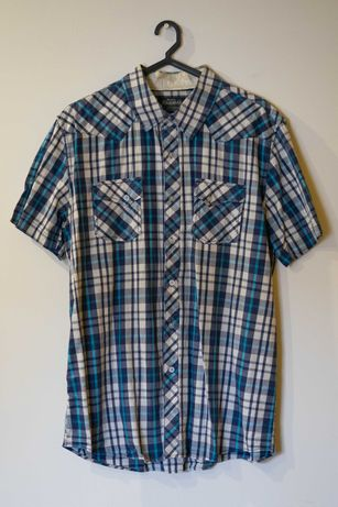 Camisa Azul c/ riscas - Pull & Bear - Tamanho L - Manga curta