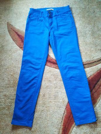 Spodnie rurki niebieskie z zameczkami 7/8 rozmiar S 36