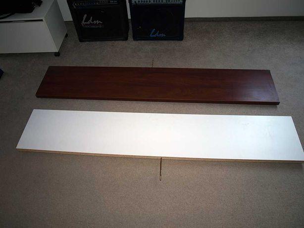 3 półki naścienne (dwie białe i jedna brązowa)