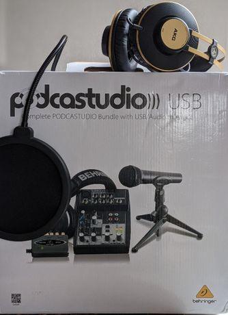 Мини студия Podcastudio Behringer USB + поп-фильтр