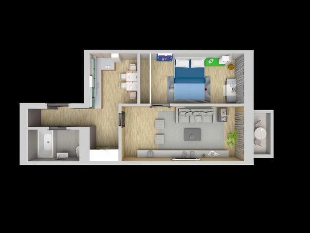 2х комнатная квартира. S=46.5м2