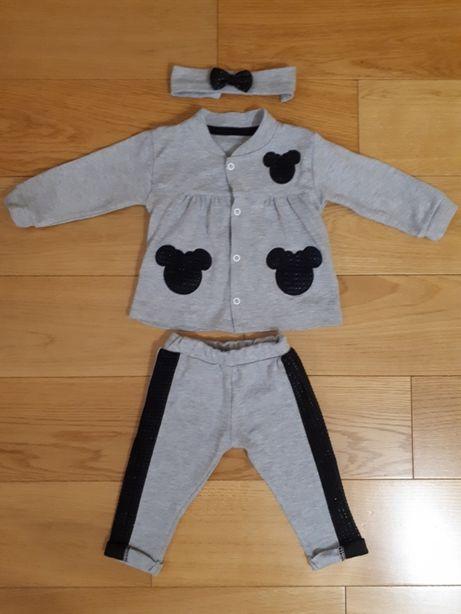 Bluza rozpinana + spodnie + opaska Minnie Mouse