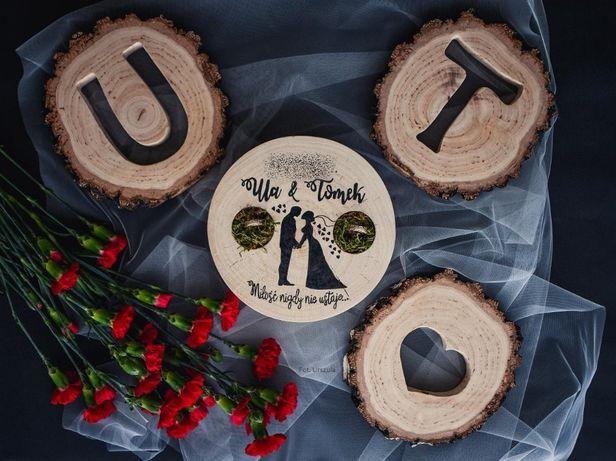 Litery na stół drewniane plastry wycinane ażurowe brzoza ślub pieńki