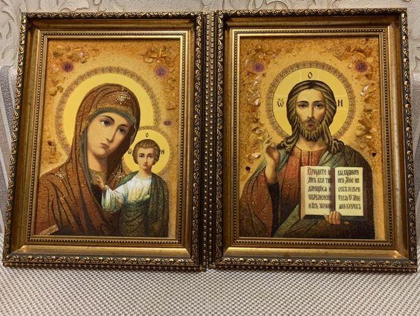 Продам венчальные иконы из бурштына