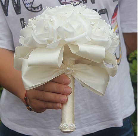 Komunijny Ślubny bukiet Komunia Piękny Biały Ecru+Opaska na nadgarstek