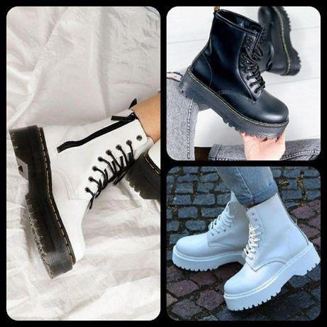 VIP ботинки DR. MARTENS JADON BLACK WHITE ∎ белые ∎ чёрные Зимние мех