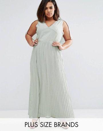 CLUB L Szara sukienka plisowana MAXI r.48