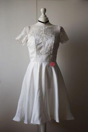 Chi Chi London wesele Nowa biała koronka koronkowa