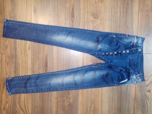 Baggy modne spodnie przetarcia guziki