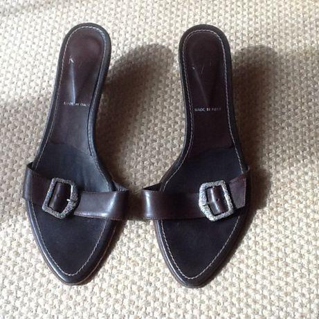 Sandálias / mules castanho em pele, Made in Italy,Nº40