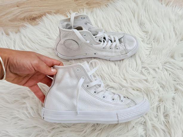 Converse trampki wysokie skórzane białe perłowe 34