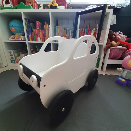 wózek  samochód drewniany biały