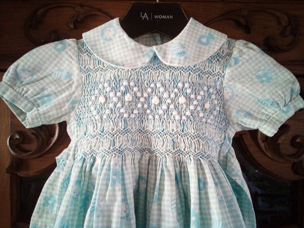 Vestido azul vintage 12/18meses