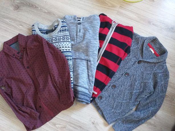 Elegancki zestaw. Koszula, sweter. Plus polar i bluza. Rozmiar 128.