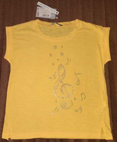 Новая желтая футболка для девочки, р.122-134