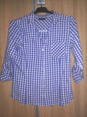 Biało niebieska krata koszula sinsay M