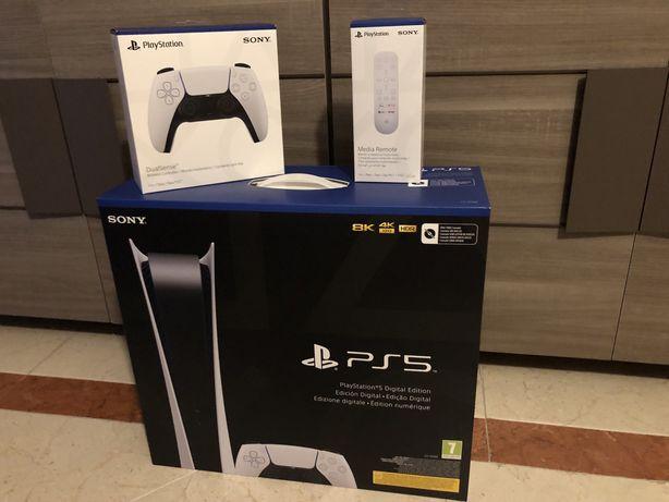 Playstation 5 PS5 Digital com 2 comandos e 1 comando multimédia