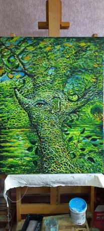 """Картина маслом """"Человек дерево"""""""