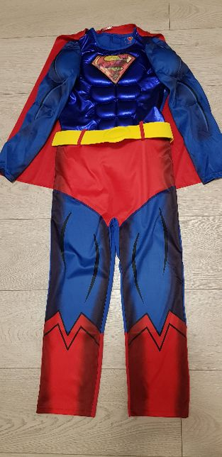 Kostium super bohater Superman 7/8lat r.128 peleryna bal urodziny mięś