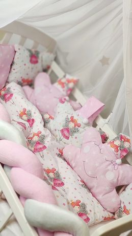 Красивое постельное в кроватку манеж.Бортики,коса,балдахин. 3Д рисунки