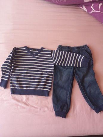 sweter i 2 pary spodni. rozmiar 92. stan idealny
