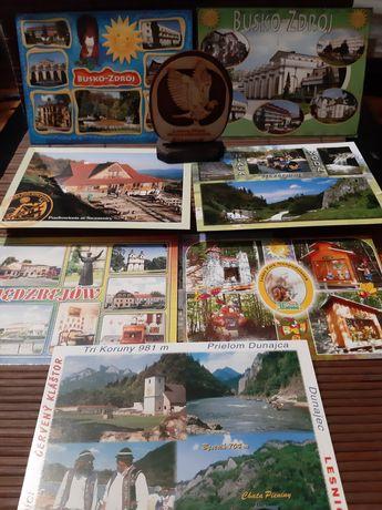 pocztówki zestaw plus figurka drewniana