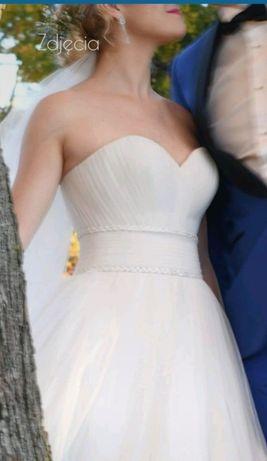 Piękna suknia ślubna ivory tiul ksiezniczka