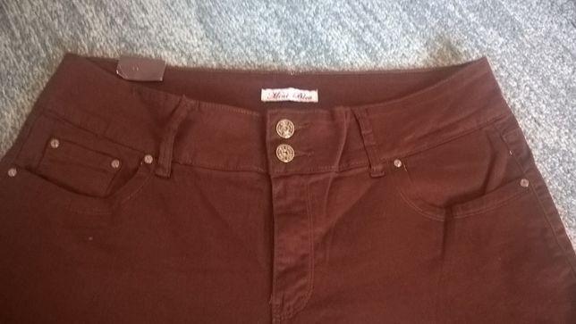 Kolorowe damskie długie jeansy rudo-brązowe roz. 44- 46