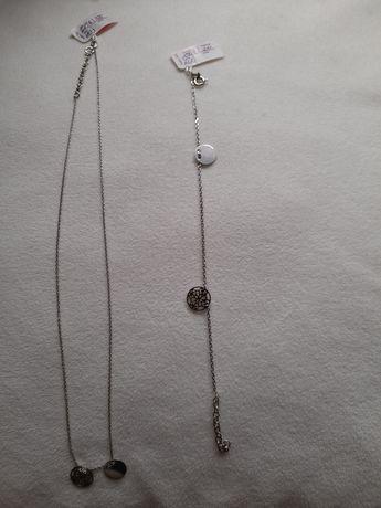 Komplet srebrny łańcuszek i bransoletka