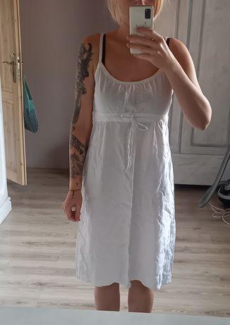 Lniana biała sukienka na ramiączkach 38 / M
