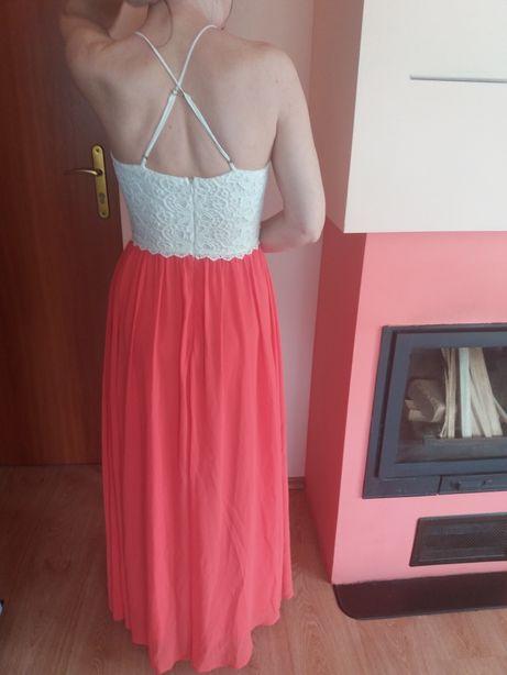 Sukienka długa kolor malinowy