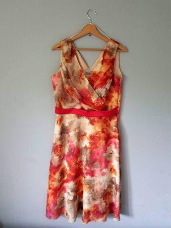 Sukienka 42 piękne kolory w kwiaty wyjściowa wielokolorowa na wesele 4