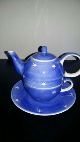 Chávena e bule de chá (conjunto) porcelana inglesa pintada à mão
