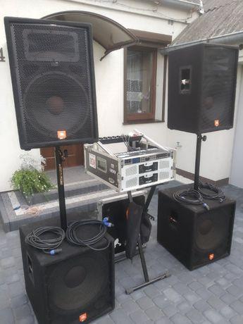 Nagłośnienie 2x JBL JRX 118s, 2x JBL JRX 115, 2x Crown LPS 2500, Zesta