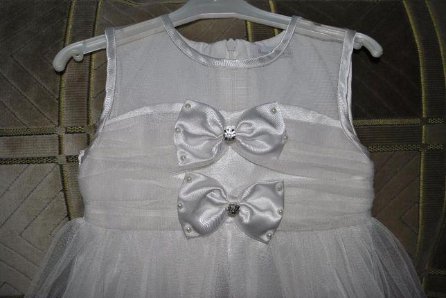 Платье нарядное белое фатиновое снежинка принцесса