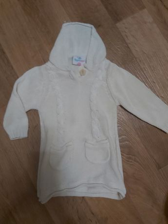 Вязаная кофта свитшот джемпер для малышки 6-9мес