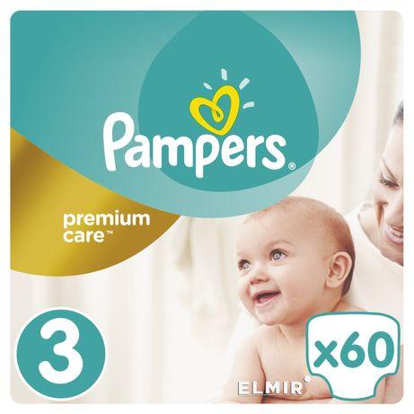 Подгузники Pampers premium care 3 (5-9кг) 60шт+ ПОДАРОК