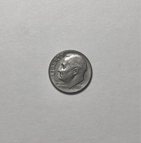 Монета 10 центов, дайм, one dime 1983 г