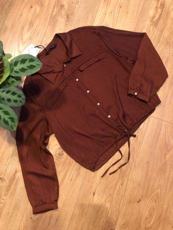 Koszula brązowa w kropki ZARA - rozmiar S 36 - NOWA